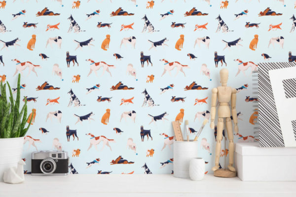 colorful and blue dog peel and stick removable wallpaper