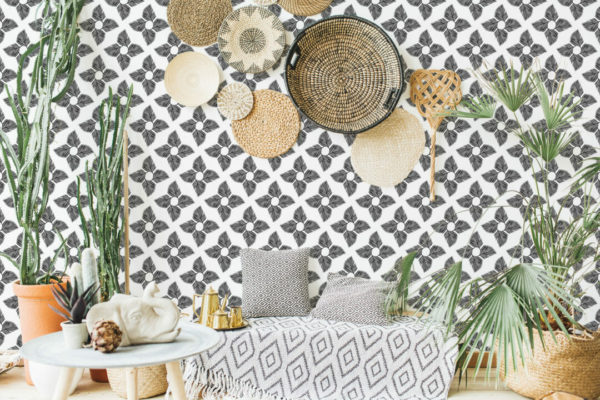 black and white leaf peel and stick removable wallpaper