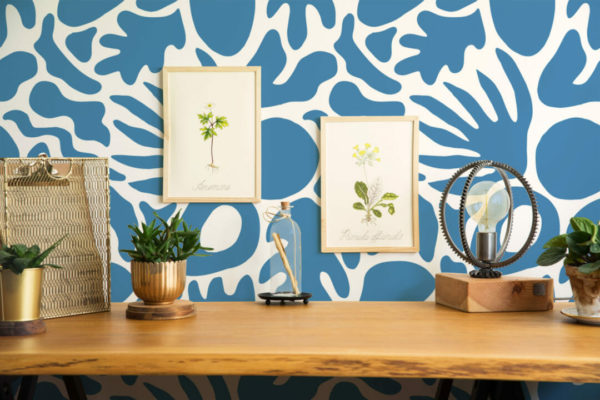 blue abstract shape peel and stick removable wallpaper