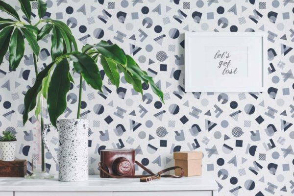 abstract letter stick and peel wallpaper