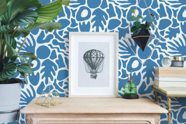 blue abstract shape peel and stick wallpaper