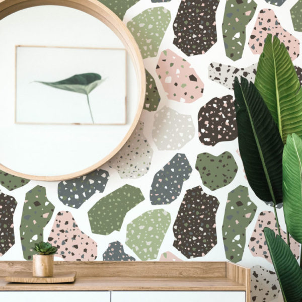 green and pink terrazzo peel and stick wallpaper