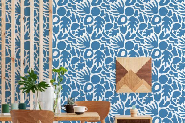 blue abstract shape self-adhesive wallpaper