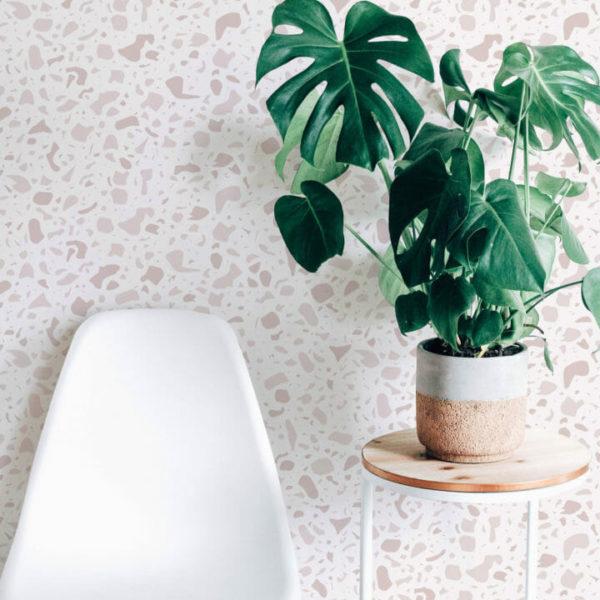 pink terrazzo self-adhesive wallpaper