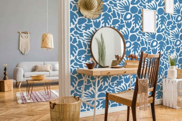 blue abstract shape removable wallpaper