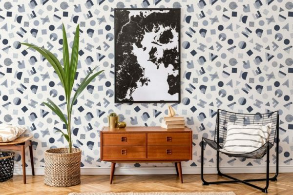 blue and gray abstract letter self-adhesive wallpaper