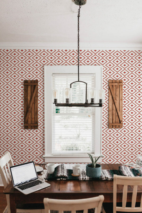 red and white rhombus peel and stick removable wallpaper
