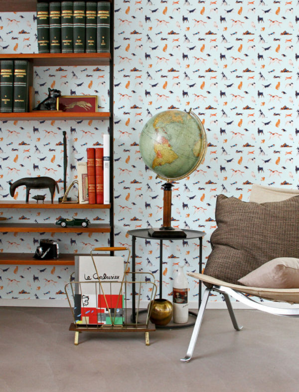 colorful and blue dog self-adhesive wallpaper