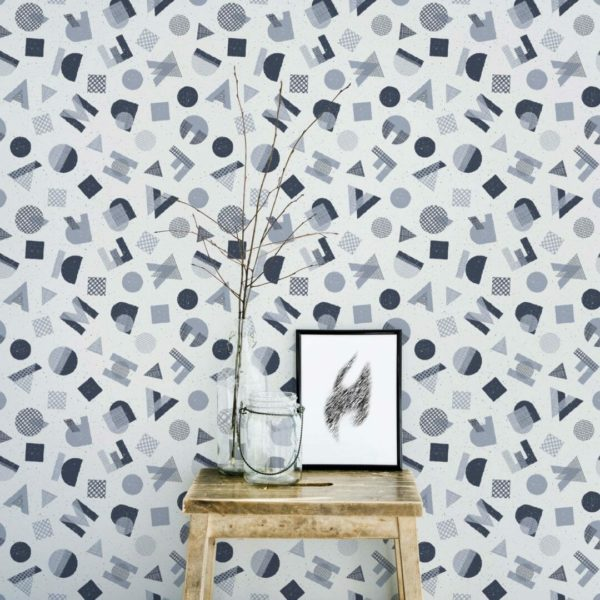 blue and gray abstract letter wallpaper roll