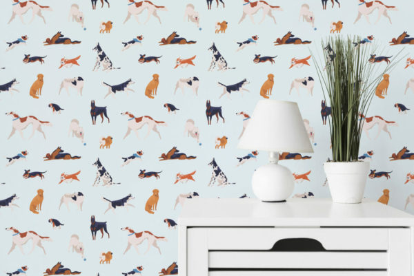 colorful and blue dog removable wallpaper