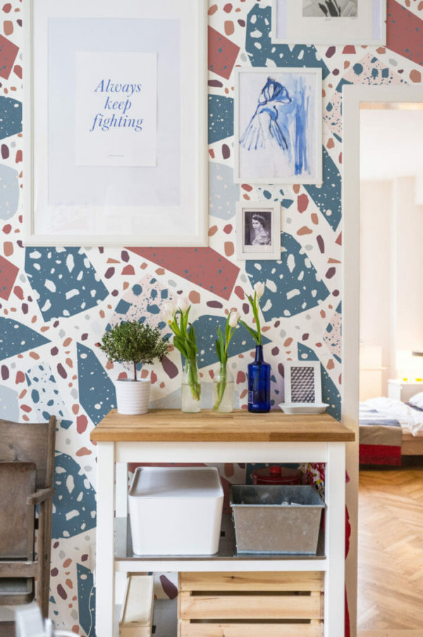 red and blue terrazzo peel and stick removable wallpaper