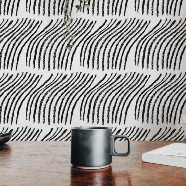 black bent line self-adhesive wallpaper
