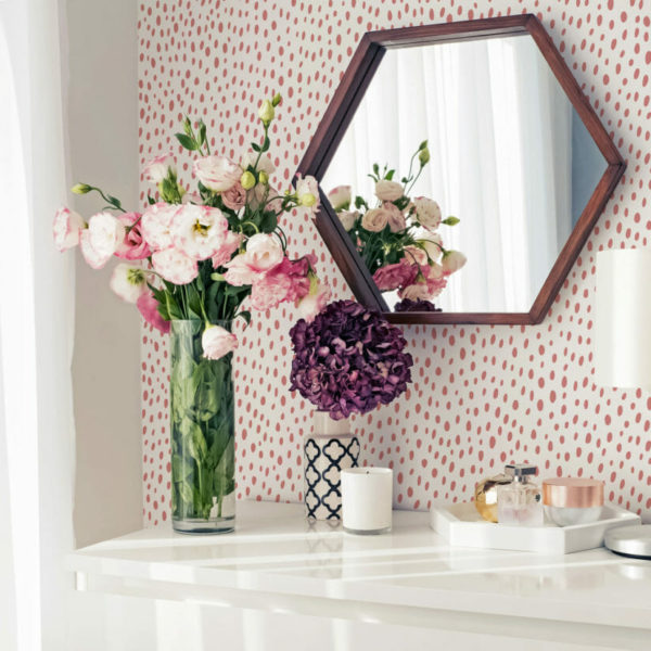 blush dotted peel and stick wallpaper