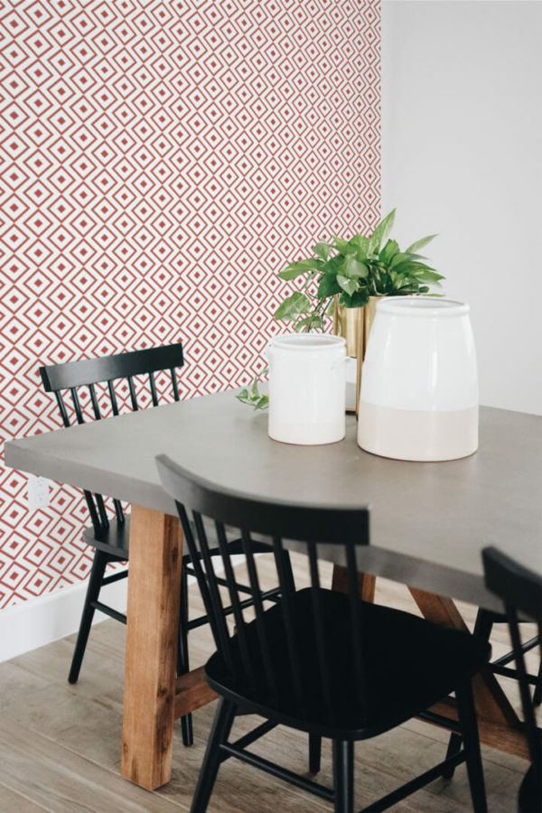 red and white rhombus removable wallpaper