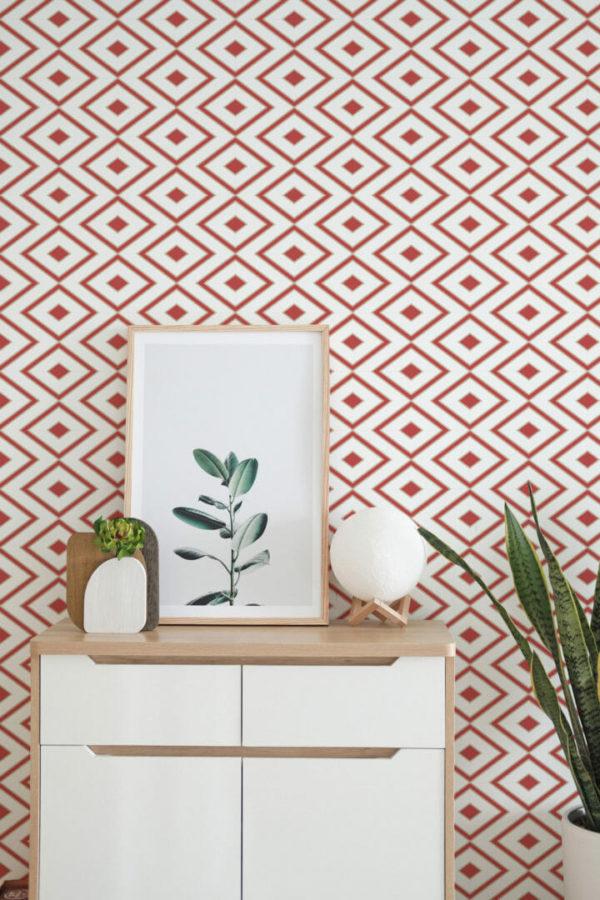 peel and stick rhombus wallpaper