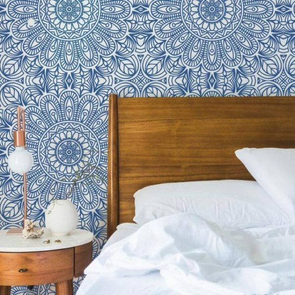 Blue Moroccan style self-adhesive wallpaper