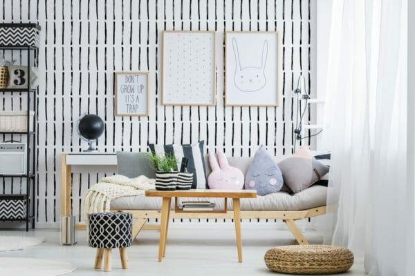 Black and white brush stroke peel and stick wallpaper