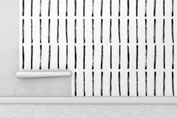 Black and white brush stroke wallpaper rolls