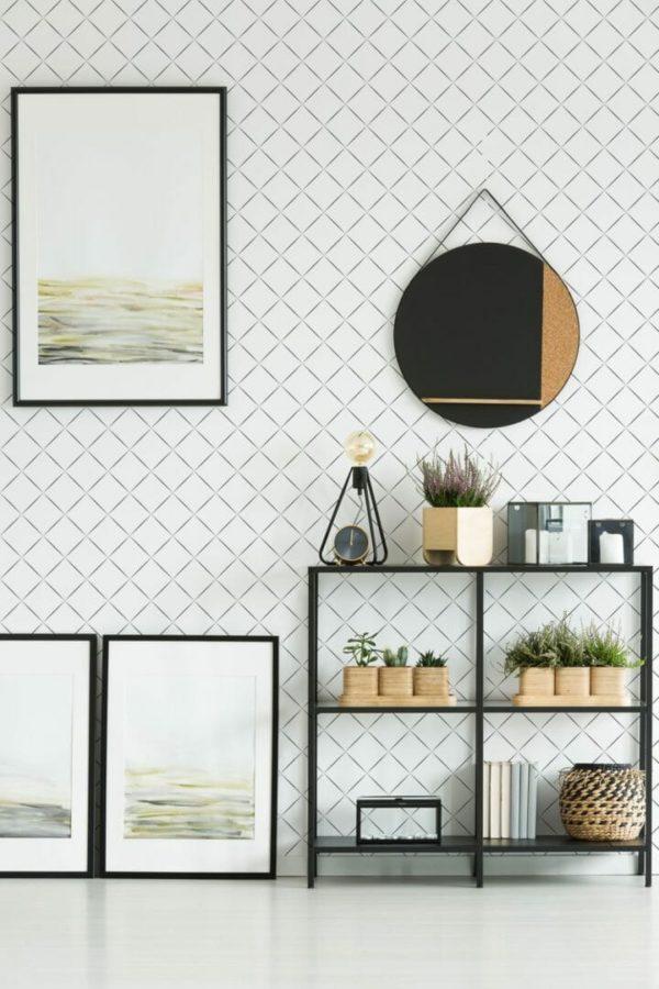 Black and white diamond removable wallpaper