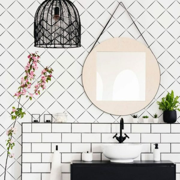 Black and white diamond self-adhesive wallpaper