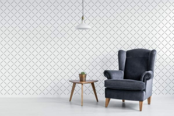 Black and white diamond unpasted traditional wallpaper