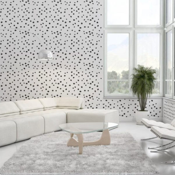 Black and white dotted self-adhesive wallpaper