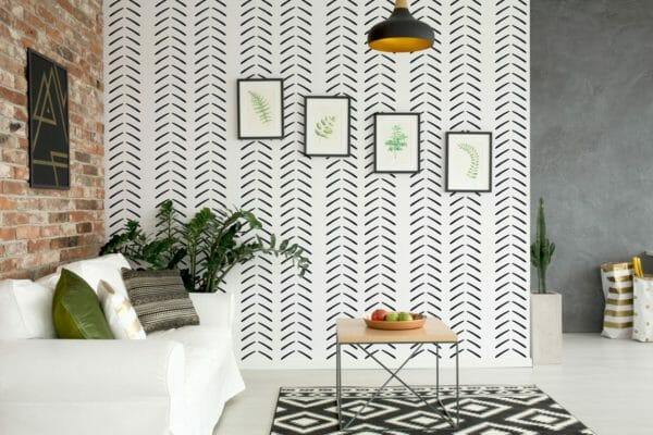 Black and white geometric herringbone removable wallpaper