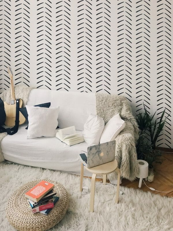 Black and white geometric herringbone self-adhesive wallpaper