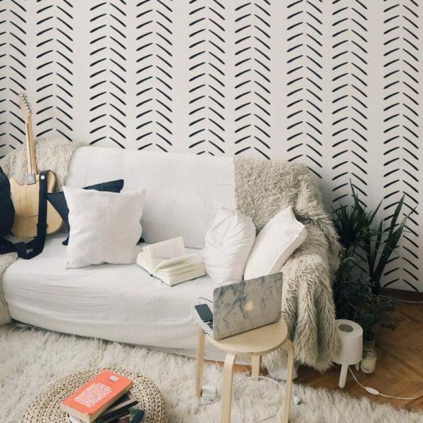 Black and white geometric herringbone self-adhesive wallpaper