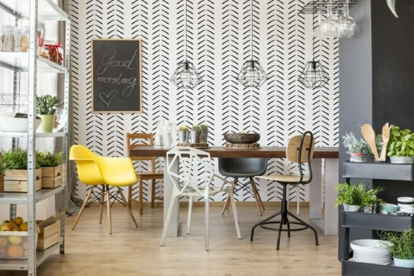 Black and white geometric herringbone unpasted traditional wallpaper
