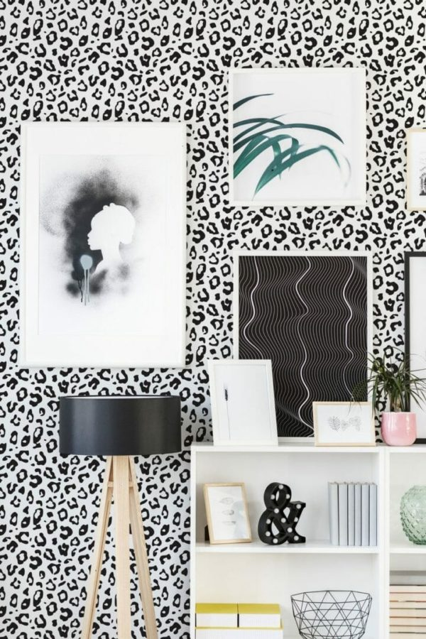 Black and white leopard spot peel and stick wallpaper