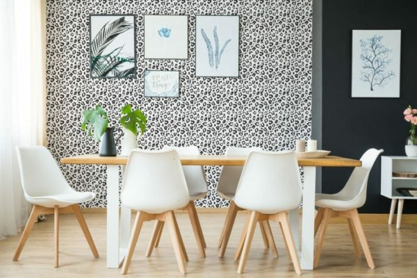 Black and white leopard spot removable wallpaper