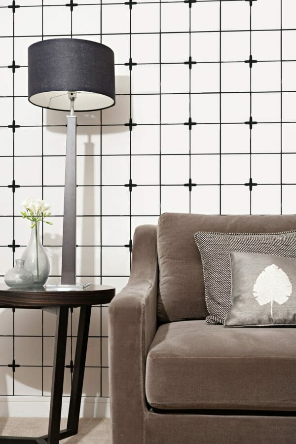 Black and white Moroccan tile removable wallpaper