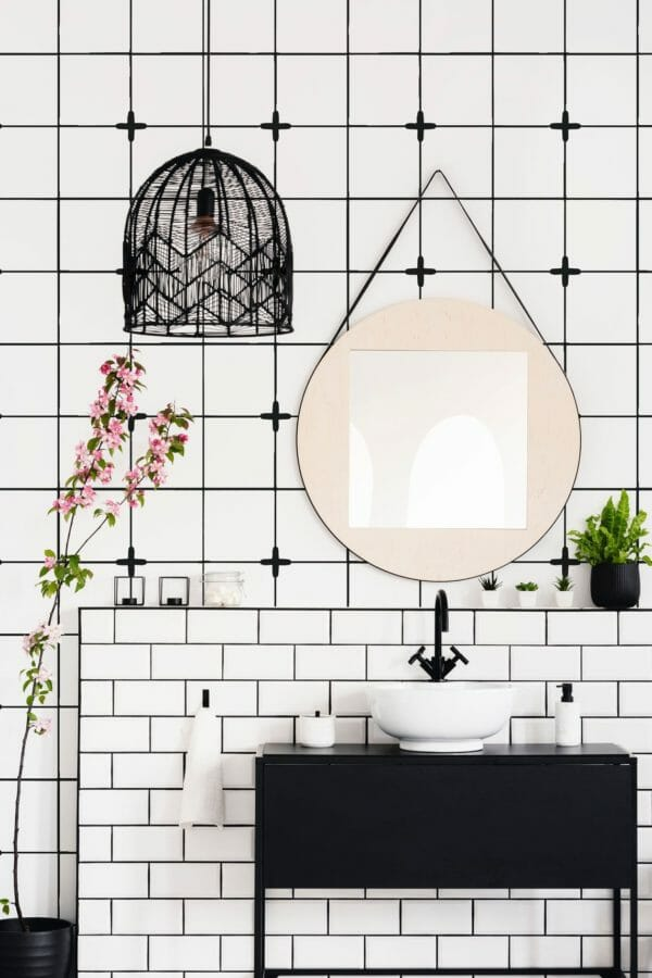 Black and white Moroccan tile unpasted traditional wallpaper