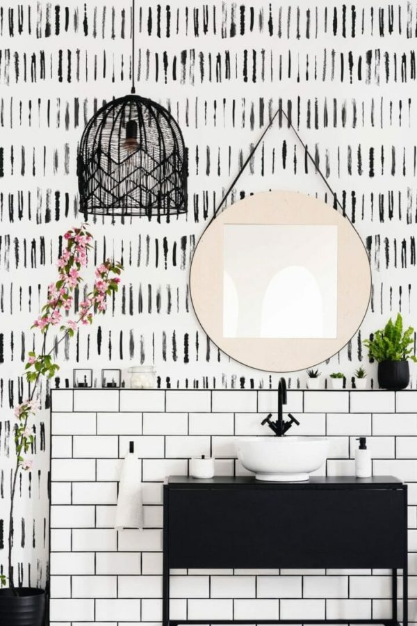 Black linear lines peel and stick wallpaper