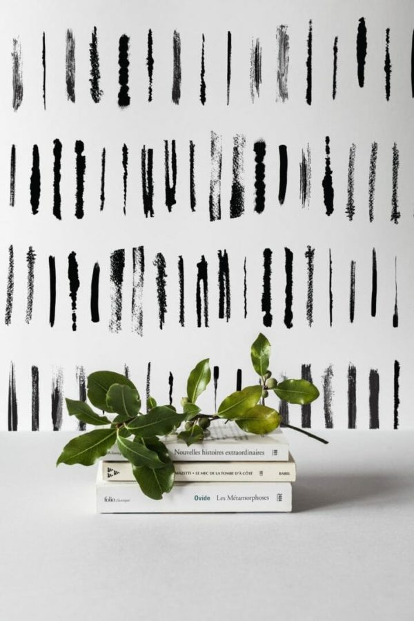 Black linear lines removable wallpaper