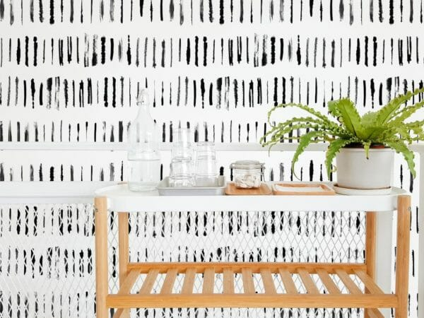 Black linear lines self-adhesive wallpaper
