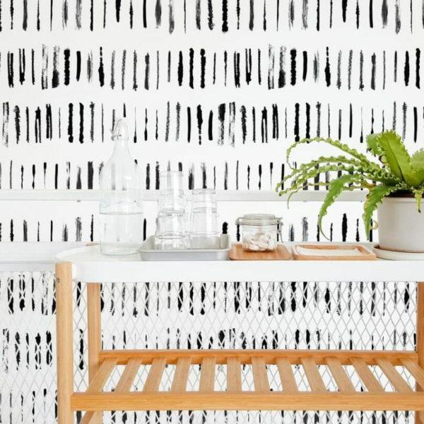 Black linear lines self-adhesive wallpaper
