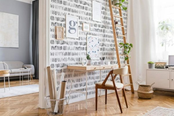 Black linear lines unpasted traditional wallpaper