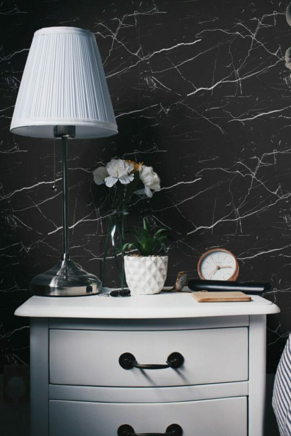 black marble peel and stick wallpaper