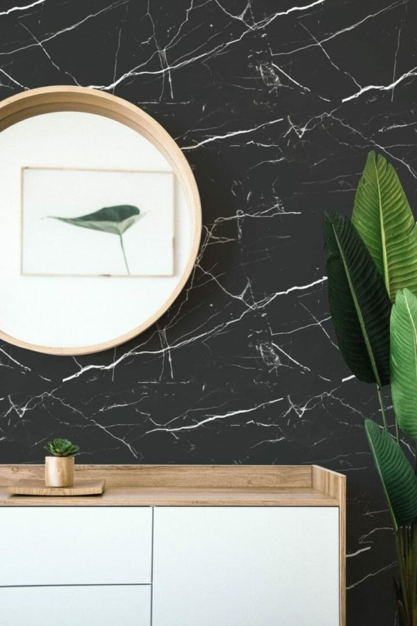 Black marble removable wallpaper