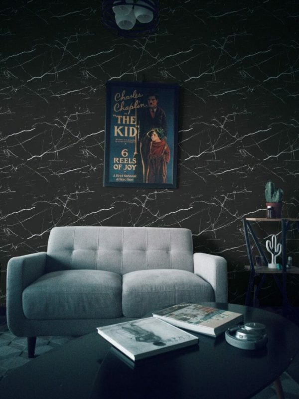 Black marble unpasted traditional wallpaper