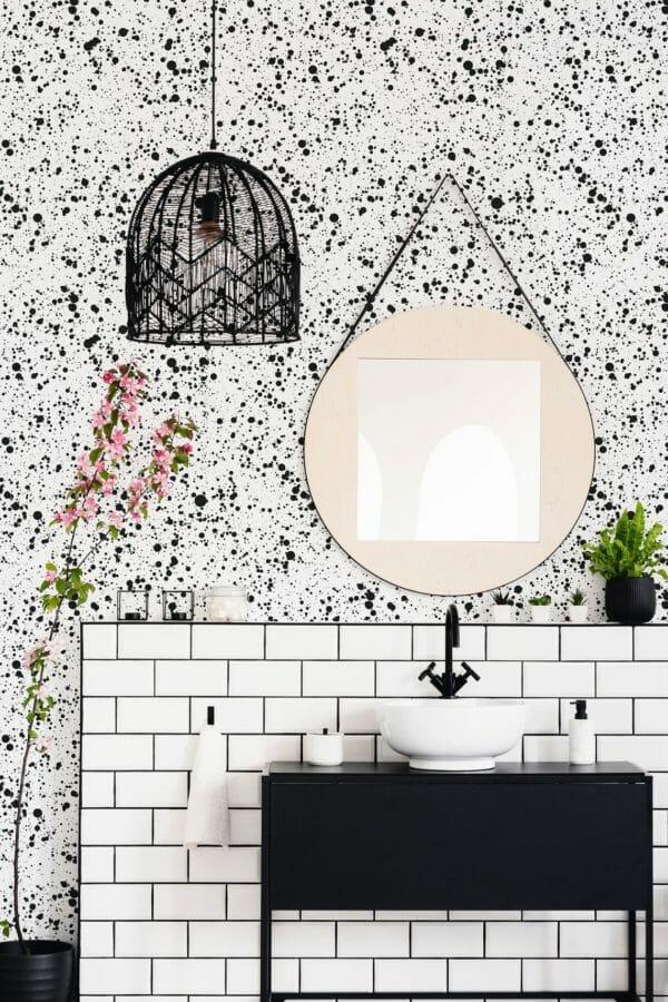 Black splash unpasted traditional wallpaper