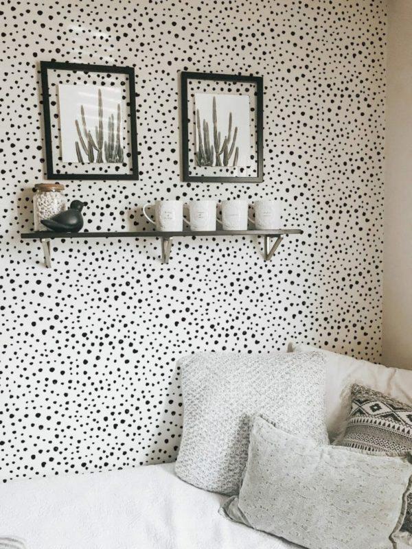 Black tiny dots removable wallpaper
