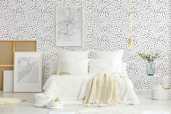 Black tiny dots unpasted traditional wallpaper