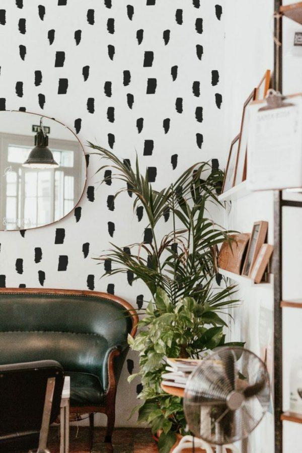 Black watercolor brush stroke peel and stick wallpaper