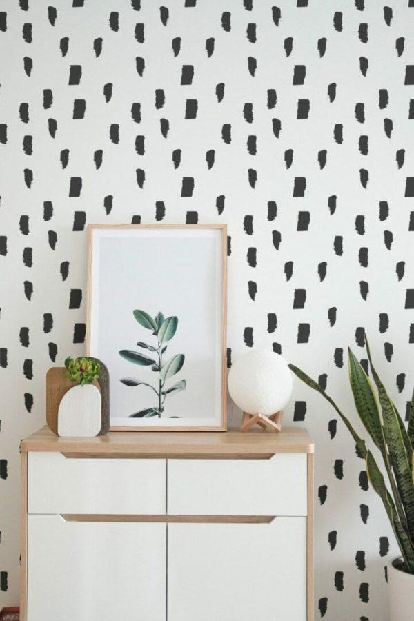 Black watercolor brush stroke removable wallpaper