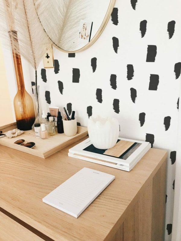 Black watercolor brush stroke unpasted traditional wallpaper