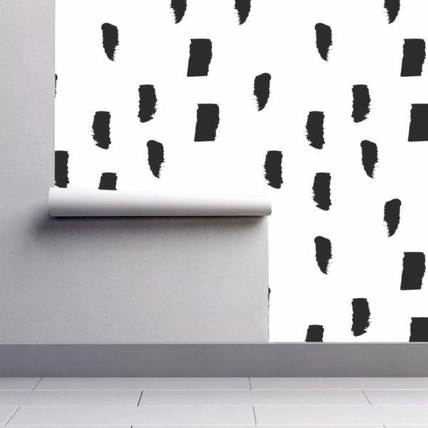 Black watercolor brush stroke wallpaper rolls