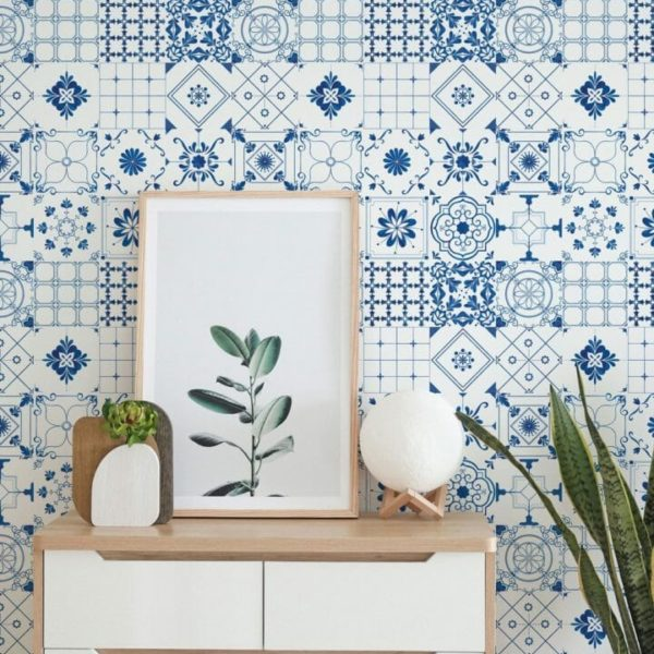 Blue and white Spanish tile self-adhesive wallpaper